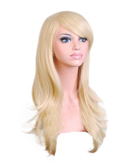 Synthetic Wig Long Wavy Hair Heat Resistant Cosplay Wig for Women 28inch Light Blonde Color