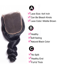 Remy Brazilian Human Hair Bundles Weaves with 4x4 Lace Closure Loose Wave Natural Color