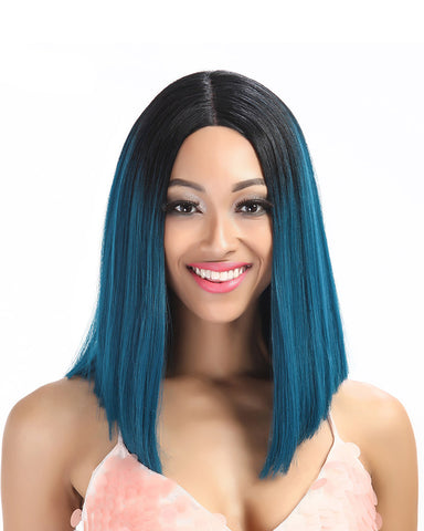 Lace Front Wig Straight Hair 14 Inch For Black Women Ombre Color Hair Synthetic Wig
