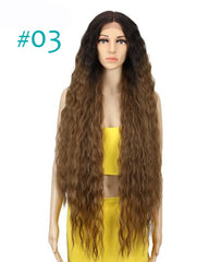 Hair Synthetic Wigs For Black Women Long Curly Hair 42 Inch Cosplay Blonde Ombre Lace Front Synthetic Wig