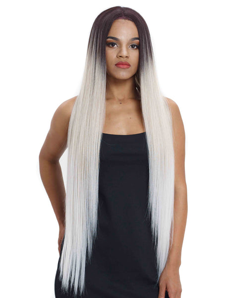 Long Straight Lace Front 38 Inch Ombre Blonde Cosplay Synthetic Wig