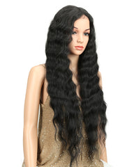 Long Black Deep Wave High Temperature Fiber Middle Part 30 Inch 150% Heavy Density Lace Front Synthetic Wigs