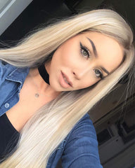 Ombre Blonde Glueless Lace Front Wigs Dark Roots  Long Natural Straight Heat Resistant Synthetic Hair 24inch