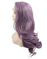 Long Wave Synthetic Glueless Hair Replacement Wigs Purple Lace Front Wig For Women 24inch