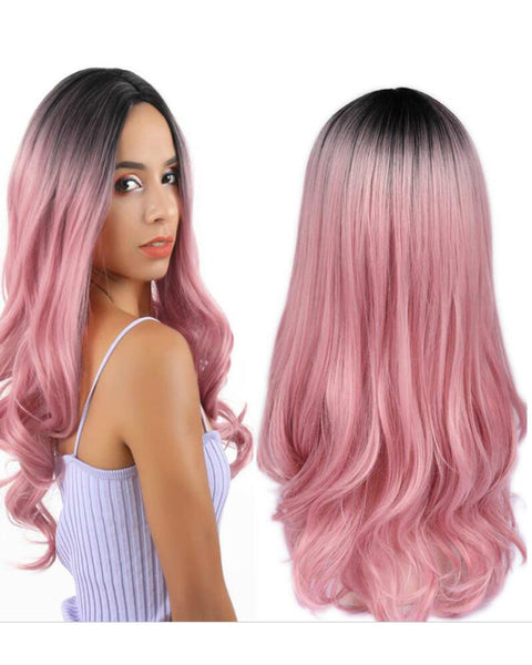 Long Synthetic Cosplay Wig Body Wave Ombre Pink Middle Part Wigs