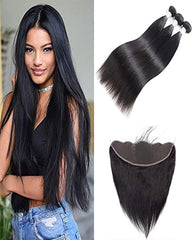 Remy Brazilian Human Hair Bundles Weaves with 13x4 Lace Frontal Straight Natural Color