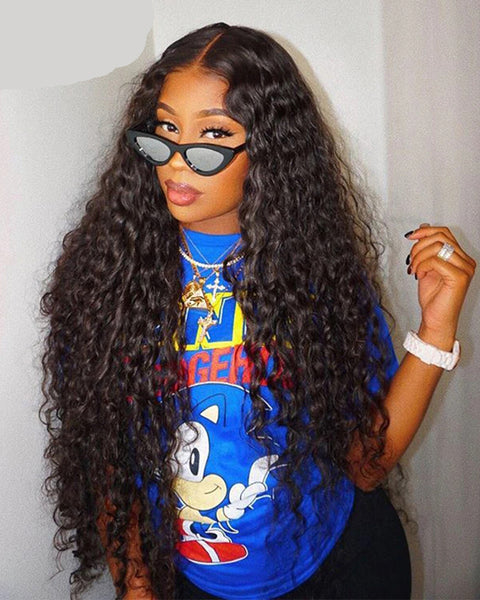 Water Wave Wig Lace Front Human Hair Wigs Pre Plucked Brazilian 360 Lace Frontal Wig 150 180 250 Density Human Hair Wig