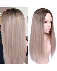 Long Straight Hair High Density Synthetic Wig For Women Ombre Blonde Natural Hair Female Wig