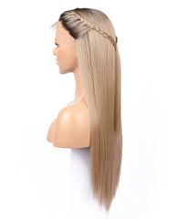 Kanekalon Fiber Dark Roots Two Tone Full Lace wig Real Natural For Women Ombre Blonde