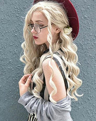 Synthetic Wig Long Curly Wave Costume Wigs Heat Resistant Hair Wig Ash Blonde Lace Front Wig 24 inches