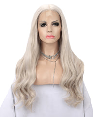 Synthetic Body Wave Hair 13x6 Lace Frontal Wig 28inch Ash Blonde Color