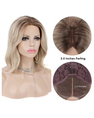 Synthetic Wigs for Women Blonde Wave Wigs with Dark Roots Heat Resistant Hair Ash Ombre Blonde Lace Front Wigs 12inch