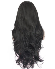 Long Wave Synthetic Wigs for Black Women with Free Wig Cap Natural Black Lace Front Wig 24inch