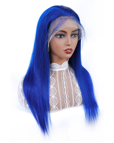 Remy Human Hair Straight 13x4 Lace Frontal Wig 10-24inch Blue Color