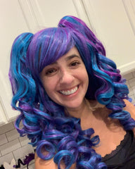 Synthetic Wig Long Curly Cosplay Wig with 2 Ponytails(Blue/Purple)
