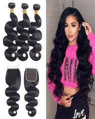 Remy Brazilian Human Hair Bundles Weaves with 4x4 Lace Closure Body Wave Natural Color