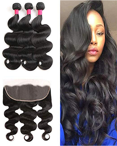 Remy Brazilian Human Hair Bundles Weaves with 13x4 Lace Frontal Body Wave Natural Color