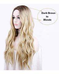 Long Wavy Wig Dark Roots Ombre Blonde Wig Middle Parting Synthetic Replacement Wig 24inch