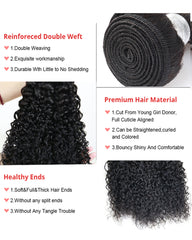 Remy Braziian Deep Curly Wave Human Hair 3 Bundles 10-28inch Natural Color