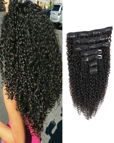 Clip In Human Hair Extensions Brazilian Remy Curly Hair Natural Color 7 Pieces/Set 100 grams