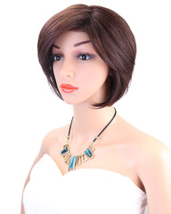 Synthetic Hair Women's Short Bob Wig With Hair Bangs Heat Resistant Mix Dark Brown