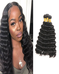 Remy Braziian Deep Wave Human Hair 3 Bundles 10-28inch Natural Color