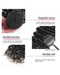 Remy Brazilian Human Hair Bundles Weaves with 13x4 Lace Frontal Deep Wave Natural Color