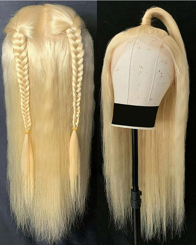 Remy Human Hair Straight Full Lace Wig 16-24inch 613 Color