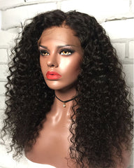 Remy Human Hair Deep Wave Full Lace Wig 16-24inch Natural Color