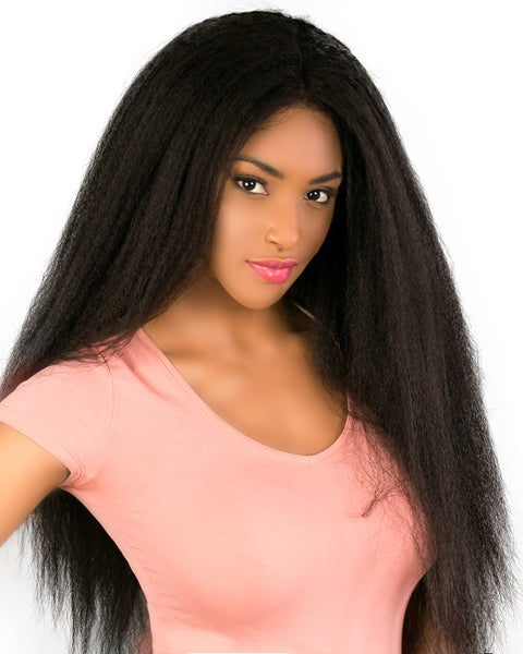 Remy Human Hair Kinky Straight Full Lace Wig 16-24inch Natural Color