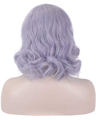 Synthetic 14 Inches Short Bob Curly Wavy Wig Light Purple Hair for Women Girls Heat Resistant Fiber Wigs Cosplay Party