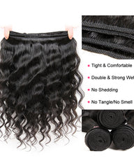 Remy Braziian Loose Wave Human Hair 3 Bundles 10-28inch Natural Color