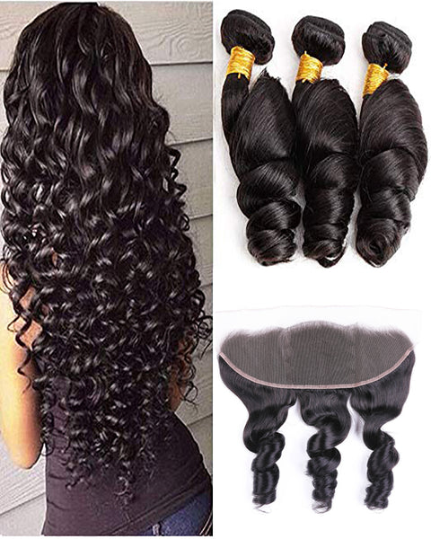 Remy Brazilian Human Hair Bundles Weaves with 13x4 Lace Frontal Loose Wave Natural Color