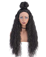 Synthetic Hair Long Loose Curly with Baby Hair Natural Hairline Heat Resistant Fiber Lace Wigs 24inch Black Color