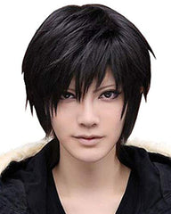 Synthetic Wig Men's Beautiful Male Black Short Straight Hair Wig Cosplay Party Heat resistant Hair