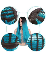 Long Straight Ombre Blue Wig for Women with Middle Part Dark Roots Costume Cosplay Wig  Heat Resistant Fiber Party Wig