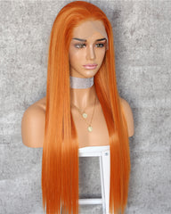 Synthetic Straight Hair 13x6 Lace Frontal Wig 22-26inch Orange Color Fiber Hair Wigs