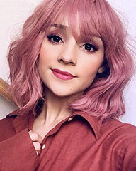 Short Pink Bob Wavy Wigs With Air Bangs Women's Wigs Synthetic Cosplay Wig for Girl