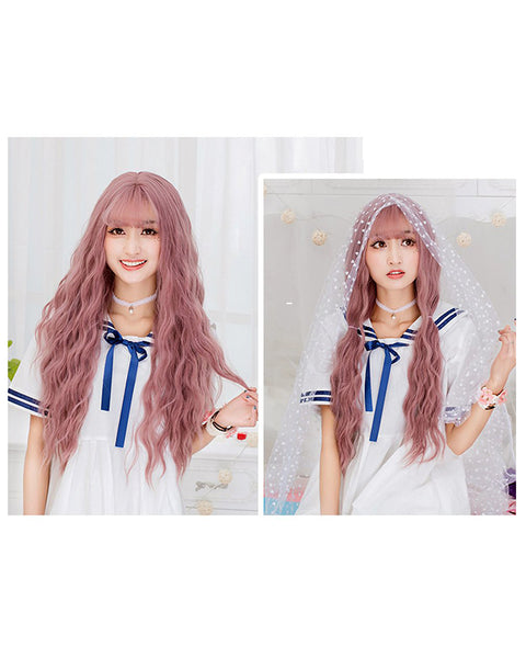 Women's Pink Wig Long Fluffy Curly Wavy Hair Wigs for Girl Heat Friendly Synthetic Cosplay Party Wigs
