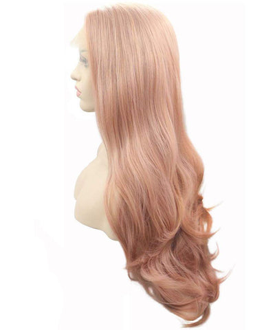 Long Wave Synthetic Glueless Hair Replacement Wigs Pink Lace Front Wig For Women 22inch