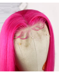 Remy Human Hair Straight 13x4 Lace Frontal Wig 10-24inch Pink Color