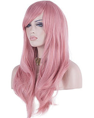 Synthetic Wig 28inch Wig Long Heat Resistant Big Wavy Hair Women Cosplay Wig Pink Color
