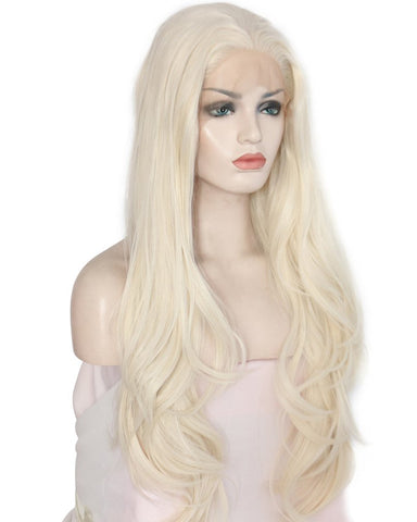 Long Wavy Glueless Synthetic Fiber Hair Replacement Wigs for Women Platinum Blonde Lace Front Wig 24inch