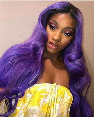 Synthetic Body Wave Hair 13x6 Lace Frontal Wig 22-24inch Purple Color Fiber Hair Wigs