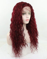 Synthetic Hair Long Loose Curly with Baby Hair Natural Hairline Heat Resistant Fiber Lace Wigs 24inch Red Color