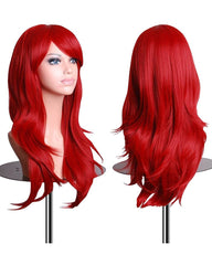 Synthetic Wigs 28 Inch Straight Hair Cosplay Wig For Women With Wig Cap Red Color