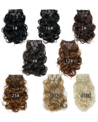 Clip In Synthetic Hair Extensions 8 Pieces 22inch Long Hairpiece Wavy Heat Resistant Hair