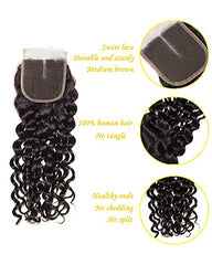 Remy Brazilian Human Hair Bundles Weaves with 4x4 Lace Closure Water Wave Hair Natural Color