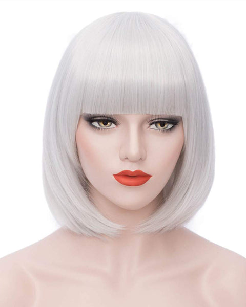 Short Bob White Wigs with Bangs For Women Synthetic Straight Wig 12inch Blue Purple And Green Color