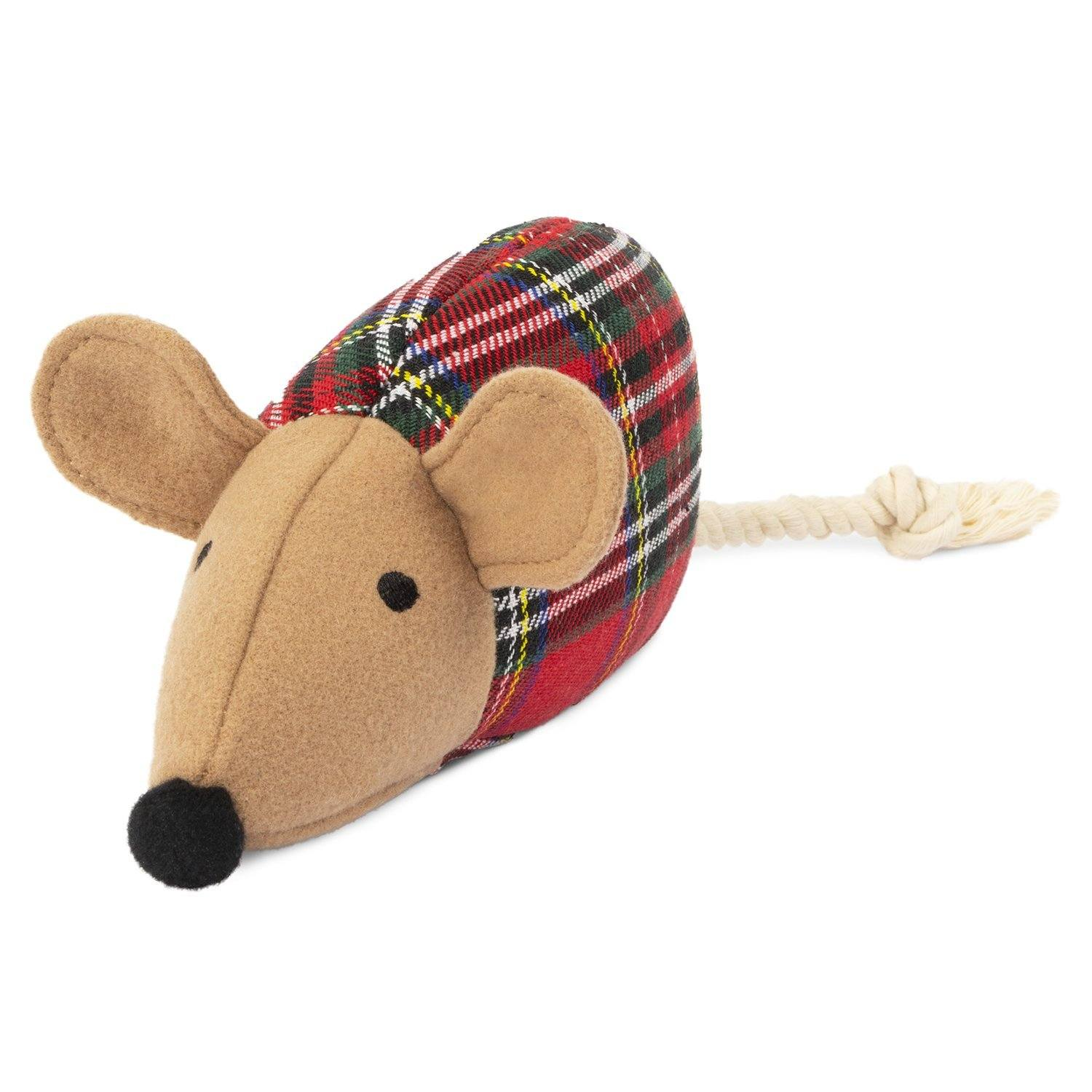 Plush Toy - Plaid Mouse Dog Toy